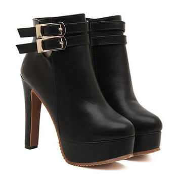 Black Double Buckle and Zipper Design High Heel Boots