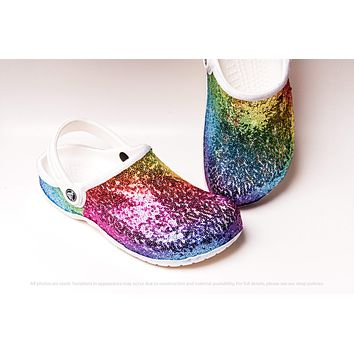 Rainbow Colored Sequin Clogs