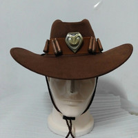 Overwatch Jesse Mccree OW Cowboy Cosplay Hat Prop Copper Badges Collection Cap