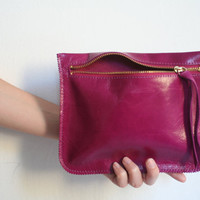 Magenta leather Pouch by Leah Lerner