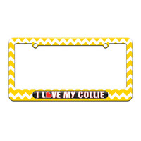 I Love Heart My Collie - License Plate Tag Frame - Yellow Chevrons Design