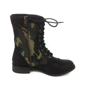Lace Up Camouflage Military Combat Boot In Black/Camouflage | Thirteen Vintage