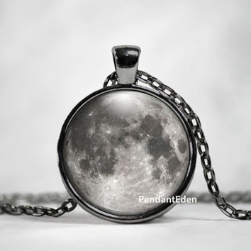 Moon Necklace Glass Pendant - Full Moon Necklace Jewelry Space, Galaxy, Celestial, Solar System,Pastel