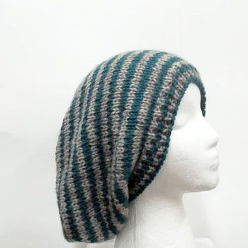 Slouch hat tan and turquoise small stripe oversized beanie 5268