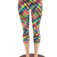Acid Plaid Print High Waist Capri Yoga Leggings