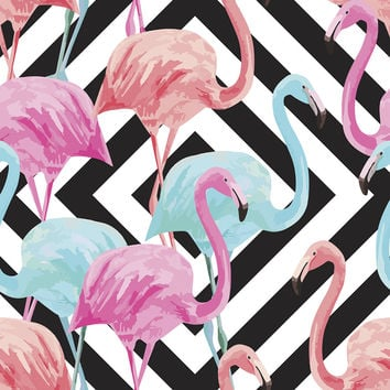 Flamingos over Diamonds Removable Wallpaper