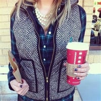 Vintage autumn&Winter Outerwear Real Photo Designer Inspired Cotton Textured Herringbone Quilted Puffer Vest Gold Zipper for Women +Free Gift -Random Necklace