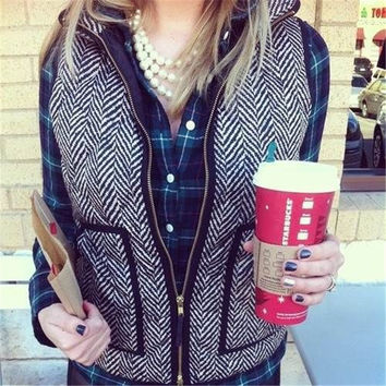 New Autumn&Winter Real Photo Designer Inspired Cotton Textured Herringbone Quilted Puffer Vest Gold Zipper