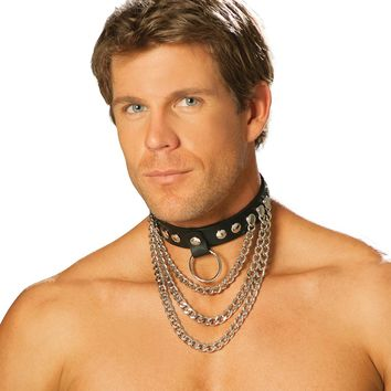 Men's leather collar with chains and O ring.
