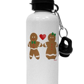 Gingerbread Man and Gingerbread Woman Couple Aluminum 600ml Water Bottle by TooLoud