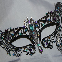 Metal Masquerade Mask with Peacock Color Accents - Extra Stones Around Eyes