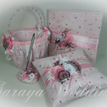 Wedding Set, Guest Book, Flower Girl Basket, Ring Bearer Pillow in Pink Satin,White Lace, Roses, Swarovski Crystals, Crystal Brooch
