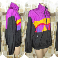 Vintage 80s Triangle Colorblock Windbreaker Jacket SPEEDO Medium Neon Nylon Geometric