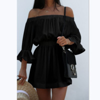 New Ladies loose dress summer sexy slash neck dress women Black