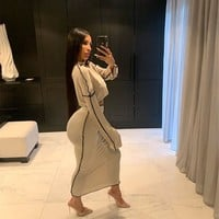 Women Two Piece Sexy Loose Oversize Long Sleeve Crop Top Maxi Skirt Set