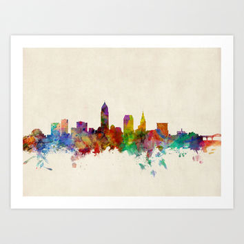 Cleveland Ohio Skyline Cityscape Art Print by artPause