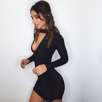 Sexy black choker mini dress