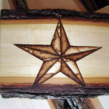 American flag art - Stars and strips rustic Americana home decor - American log cabin artwork