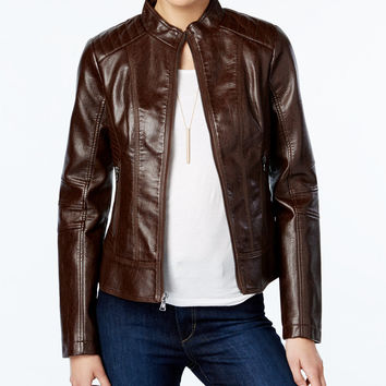 GUESS Faux-Leather Textured Bomber Jacket - Coats - Women - Macy's