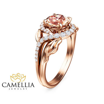 14K Rose Gold Morganite Engagement Ring Unique Leaf Design Ring  Peach Pink Moraganite  Ring Art Deco Engagement  Ring