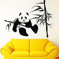 Wall Stickers Vinyl Decal Bamboo Panda Funny Animal Lazy Room Decor (ig229)