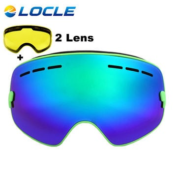 LOCLE Brand Ski Goggles Double Lens UV400 Anti-fog Large Spherical Skiing Glasses Masks Snowboard Goggles Night Lens 2 Lens