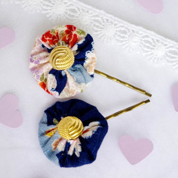 Yoyo Hair Pin Bobby Pin Japanese Fabric Vintage button