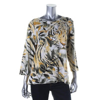Alfred Dunner Womens Printed 3/4 Sleeves Pullover Top