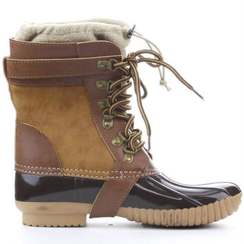 Muriel Thermal Fleece Insert Duck Boots - Camel