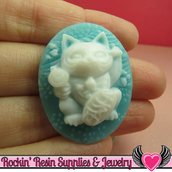 Lucky Cat Cameos in Aqua Blue and White 30x40mm Flatback Resin Cabochons (2 pieces)