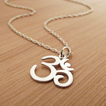 Om Necklace, Ohm Necklace, Sterling Silver Necklace, Sterling Silver Ohm Om, Yoga Necklace, Yoga Yen Jewelry, Om Ohm chain