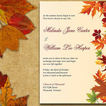 INSTANT DOWNLOAD Autumn Leaves Rustic Wedding Invite Microsoft Word Template - Maple Leaves, Fall Season, Country Wedding Invitation