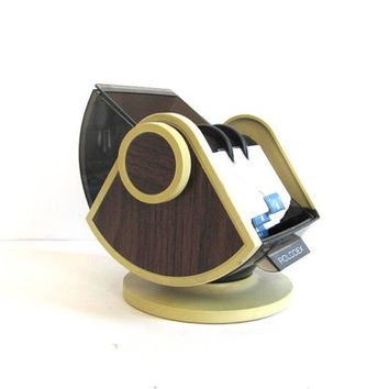 vintage Rolodex Swivel File w Vintage Faux Wood Grain.  Address organizer Model SW-24C. Office Desktop decor