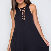Harlee Lace Up Dress - Black