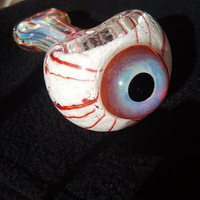purple/amber/blue eye bowl pipe inside out w/ bloody veins