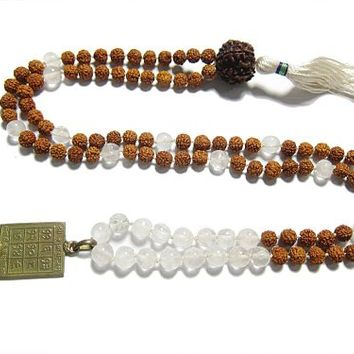 Shukra Yanta- Yoga Energy Mala Crystal and Rudraksha Beads Prayer Necklace Pendant