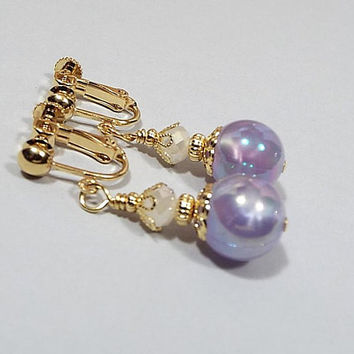 Pastel Purple Earrings, Pearly AB Purple and White Drop Earrings, Gold Plated, Made with Vintage Beads, Clip on Earrings Lever Back Hook