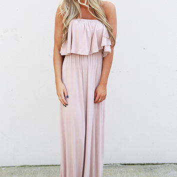 Basic Strapless Summer Maxi {Taupe}