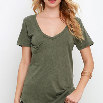 Olive Green Tops PocketStyle Woman Relaxes In Bulk Summer V-neck T-shirts Pure Short Sleeve Basic Tee