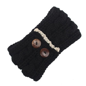 Women Knitting Double Button Headband For  Twist Crochet Keep Warm Hairband Head Wrap For Women Female Hair Accessories BL
