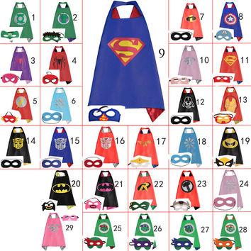 70cm*70cm Kids Superhero Capes & Mask Costume Capes For Kids Superman Spiderman Superhero Cape for kids Halloween Birthday Party