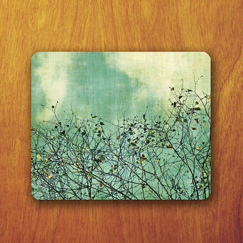 Branch Painting Mouse Pad Beautiful Art Green Wallpaper MousePad Office Pad Work Accessory Personalized Custom Gift