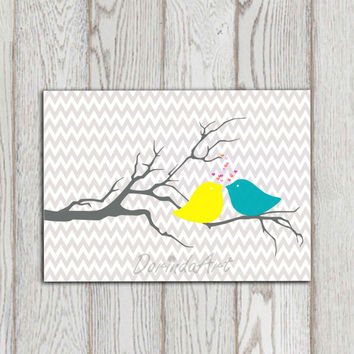 Bird printable Gray turquoise yellow Chevron printable Love birds Anniversary Nursery wall decor Little girl bedroom decor Baby Download