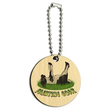 Fainting Goat Myotonic Wood Wooden Round Key Chain