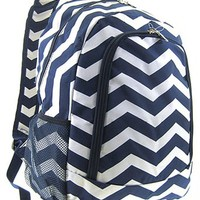 Chevron Print School Backpack Bookbag (Navy Blue)