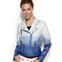 Jou Jou Asymmetrical Ombre Faux-Leather Moto Jacket