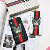 Gucci Cat Creative Cover Case For iphone 6 6s 6plus 6s-plus 7 7plus 8 8plus X XR XS XS MAX