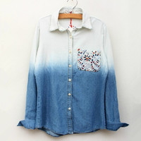 Gradient Colored Lace Wild Casual Denim Shirt