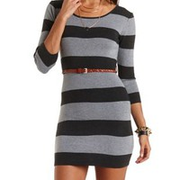 Striped & Belted Sweater Dress by Charlotte Russe - Med Gray Combo