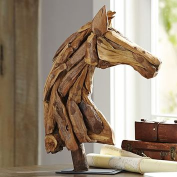 PIECED WOOD HORSE HEAD
